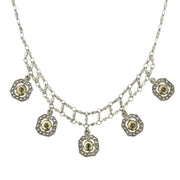 Silver-Tone and Gold Tone 5 Drop Necklace 15 In Adj