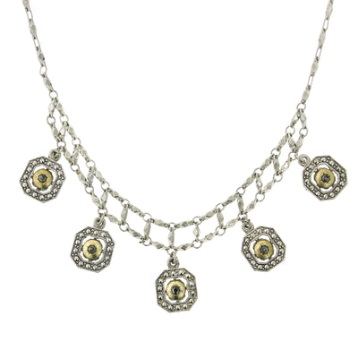 Silver Tone And Gold Tone 5 Drop Necklace 15 In Adj