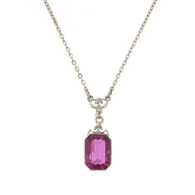 Silver With Fuchsia Stone Drop Necklace 16 - 19 Inch Adjustable
