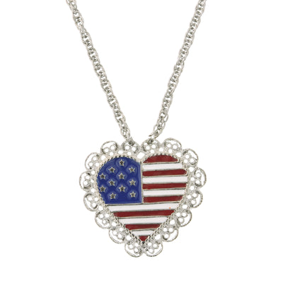 Silver-Tone Heart Shaped Flag Necklace 16 In Adj