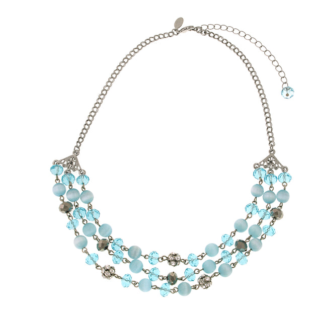 Silver Tone Aqua Blue Cats Eye 3 Row Necklace