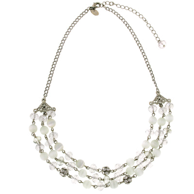 Silver-Tone White Cat S Eye 3 Row Necklace 16 - 19 Inch Adjustable