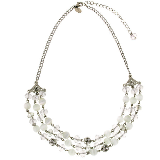 Silver-Tone White Cat s Eye 3 Row Necklace 16 In Adj