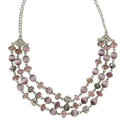 Silver-Tone 3 Row Necklace 16 - 19 Inch Adjustable