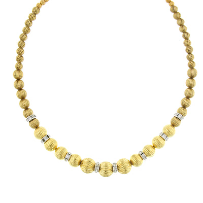 Gold Textured Rondell Necklace 16 In Adj