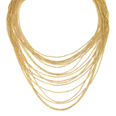 Gold Multi Chain Necklace 14 In Adj