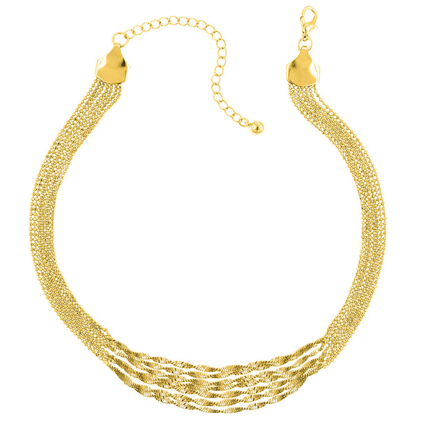 Gold-Tone Multi Twist Chain Necklace 16 - 19 Inch Adjustable
