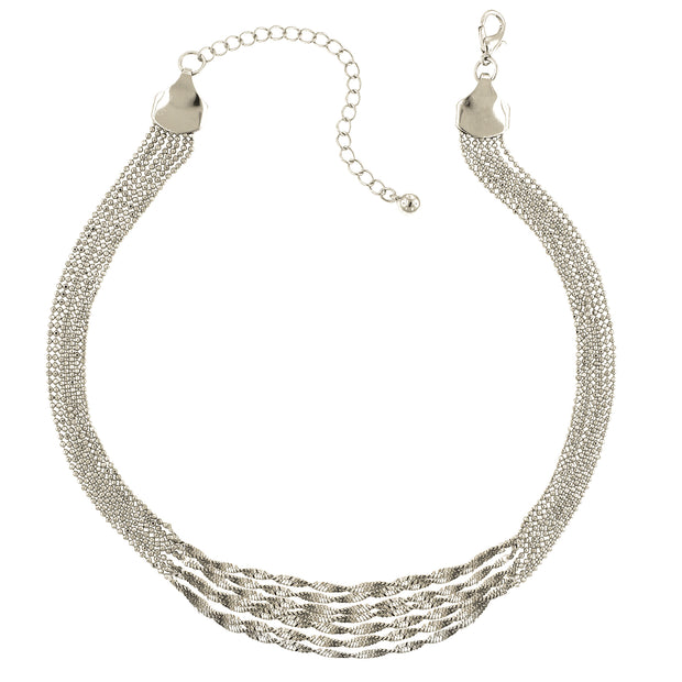 Silver-Tone Multi Twist Chain Necklace 16 - 19 Inch Adjustable