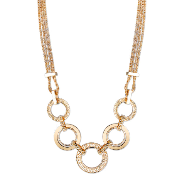 Gold-Tone Circle Collar Necklace 16 In Adj
