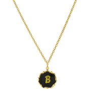 14K Gold Dipped Black Enamel Initial Pendant Necklaces B