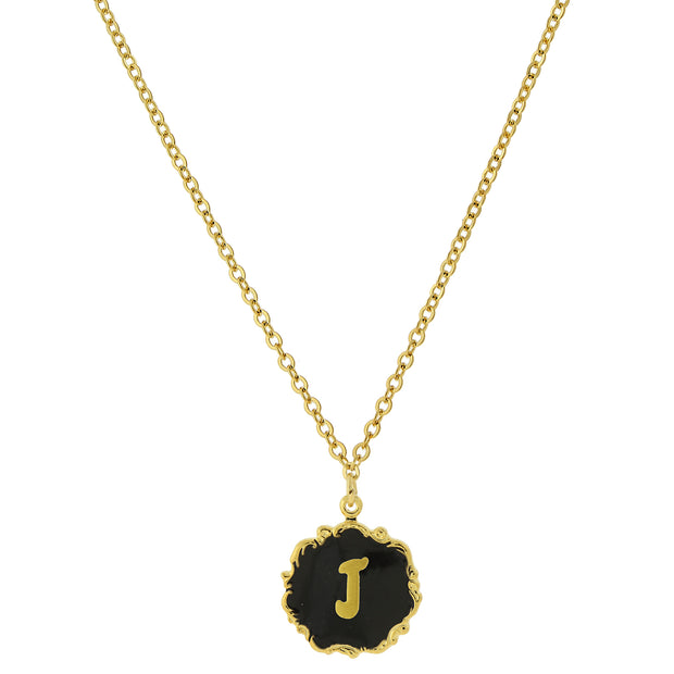 14K Gold Dipped Black Enamel Initial Pendant Necklaces J