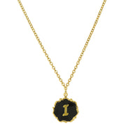 14K Gold Dipped Black Enamel Initial Pendant Necklaces I