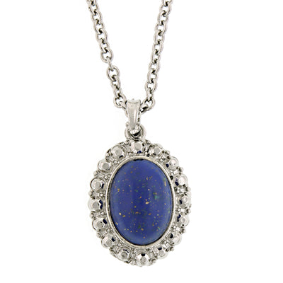 Silver-Tone Blue Oval Pendant Necklace 16 In Adj