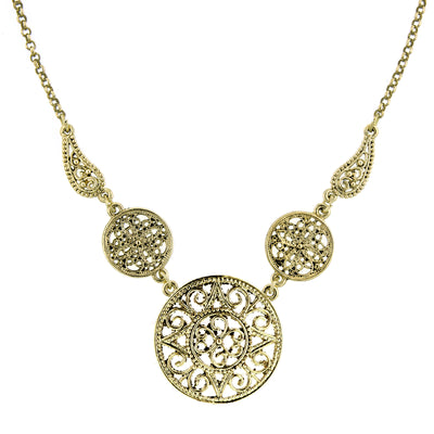 Gold-Tone Filigree Pendant Necklace 16 In Adj