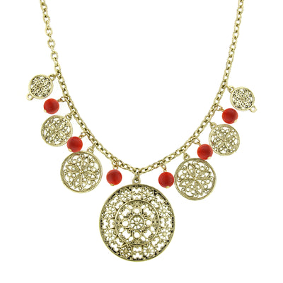 Gold-Tone Red Filigree Round Pendant Necklace 16 In Adj