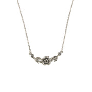 Silver-Tone Flower Necklace 16 - 19 Inch Adjustable