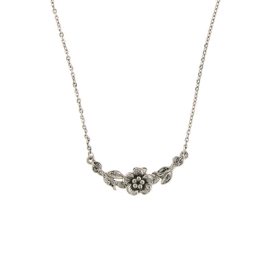 Silver-Tone Flower Necklace 16 In Adj