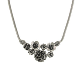 1928 Jewelry: 1928 Jewelry - Silver-Tone  Flower Statement Necklace