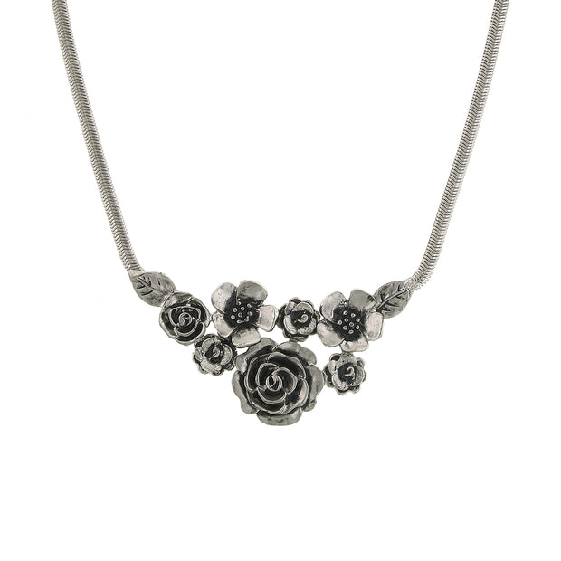 Silver-Tone Flower Bib Necklace 16 - 19 Inch Adjustable