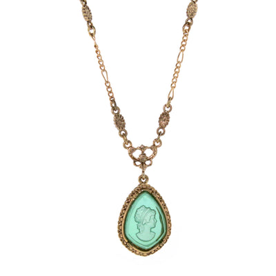 Gold-Tone Indicolite Intaglio Pear Shape Faceted Cameo Pendant Necklace 16 - 19 Inch Adjustable