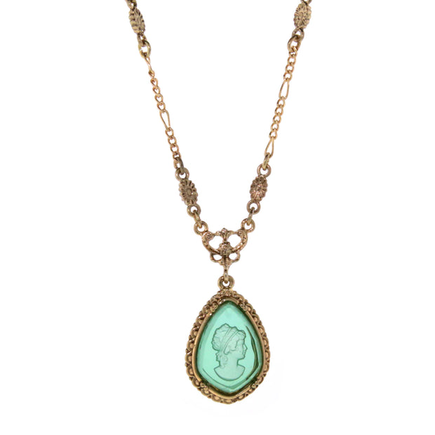 Gold-Tone Indicolite Intaglio Pear Shape Faceted Cameo Pendant Necklace 16 In Adj