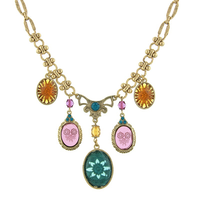 Gold-Tone Indicolite Smk Topaz and Amethyst Intaglio Bib Necklace 16 In Adj