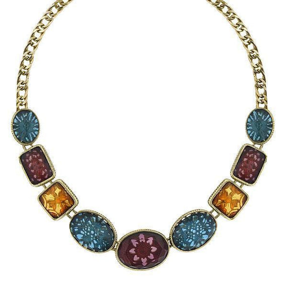 Gold-Tone Indicolite Smk Topaz and Amethyst Collar Necklace 16 Adj.