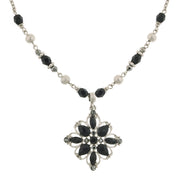 Silver Tone Black Flower Pendant Necklace 16   19 Inch Adjustable