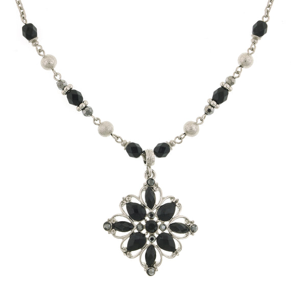 2028 Black Navette Cut Flower Pendant Necklace