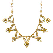 Matte Antiqued 14K Gold-Dipped Chevron Bib Necklace 16 - 19 Inch Adjustable