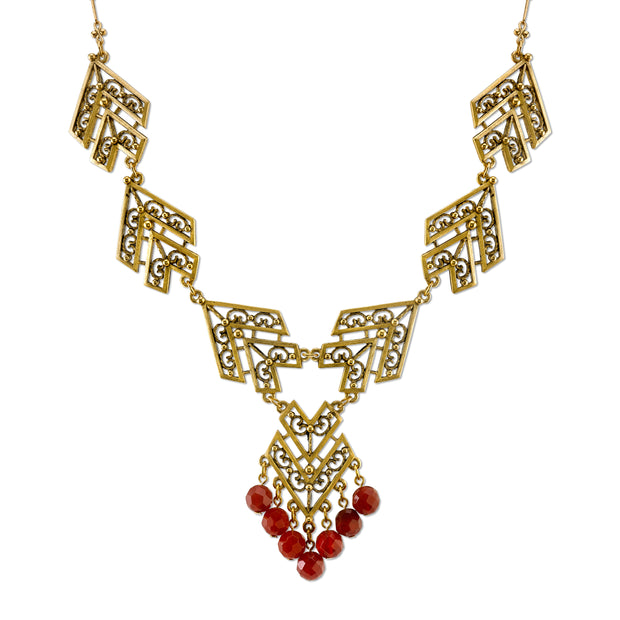 Antiqued 14K Gold-Dipped With Gemstone Carnelian Chevron Necklace 16 - 19 Inch Adjustable