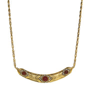 Antiqued 14K Gold-Dipped Red And Crystal Collar Necklace 16 - 19 Inch Adjustable