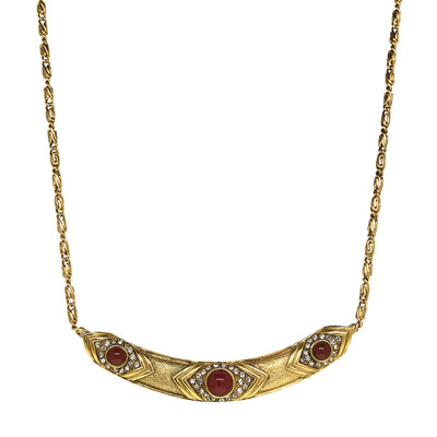 Antiqued 14K Gold Dipped Red And Crystal Collar Necklace 16   19 Inch Adjustable