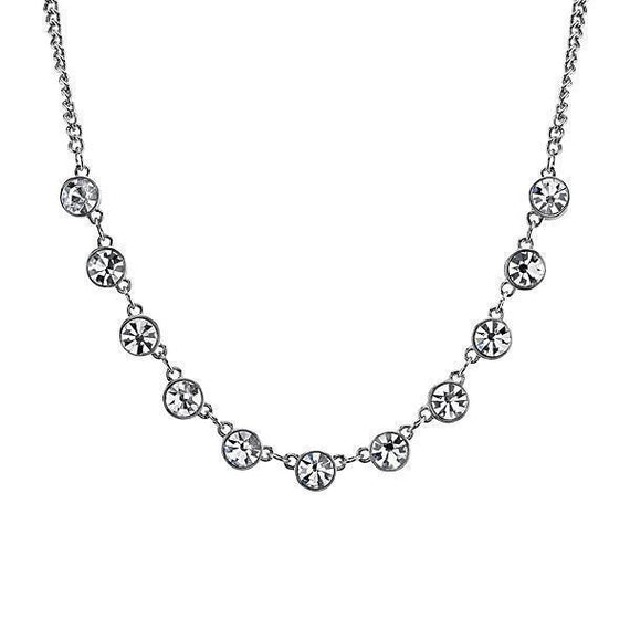 Silver-Tone Crystal Necklace 16  Adj.