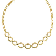 Gold-Tone Circle Link Necklace 16 - 19 Inch Adjustable