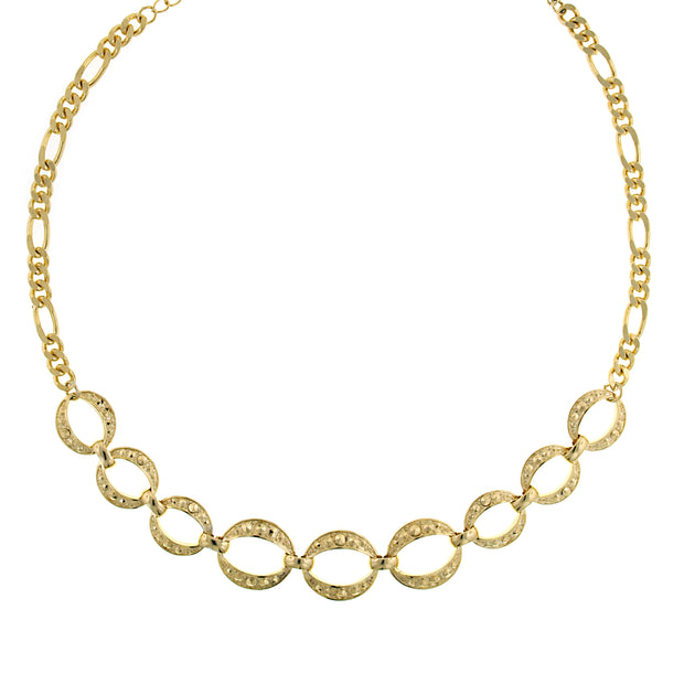 Gold-Tone Circle Link Necklace 16 In Adj