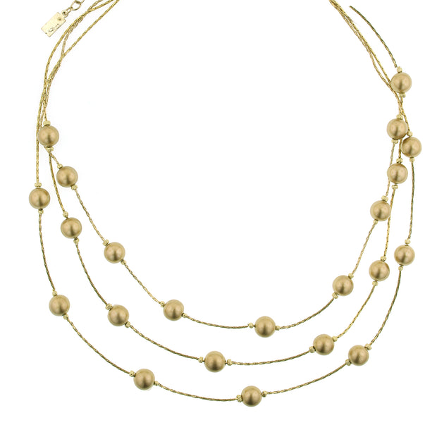 Gold-Tone Strandage Necklace 16 - 19 Inch Adjustable