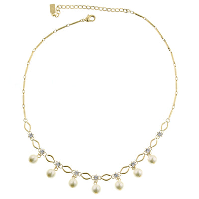 **Gold Tone Costume Pearl Necklace 16 - 19 Inch Adjustable