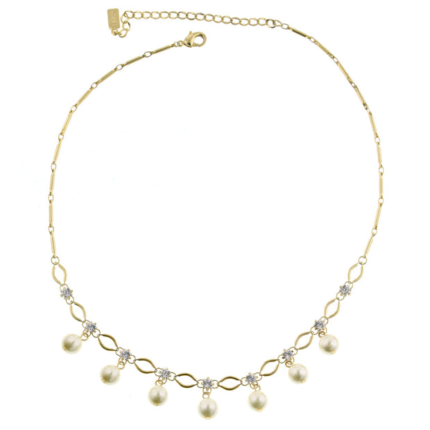 **Gold Tone Costume Pearl Necklace 16 In Adj