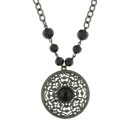 Fashion Jewelry - Beaded Jet Filigree Pendant Necklace