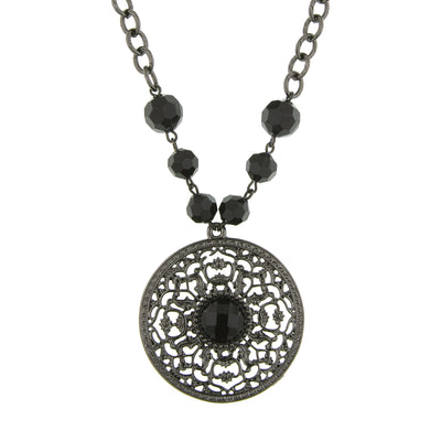 Black-Tone Black Large Pendant Necklace 16 In Adj