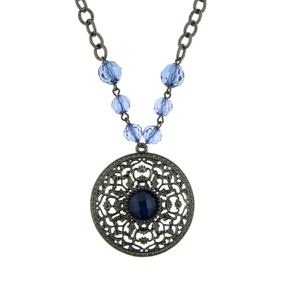 Black Tone Montana Blue Large Pendant Necklace 16   19 Inch Adjustable