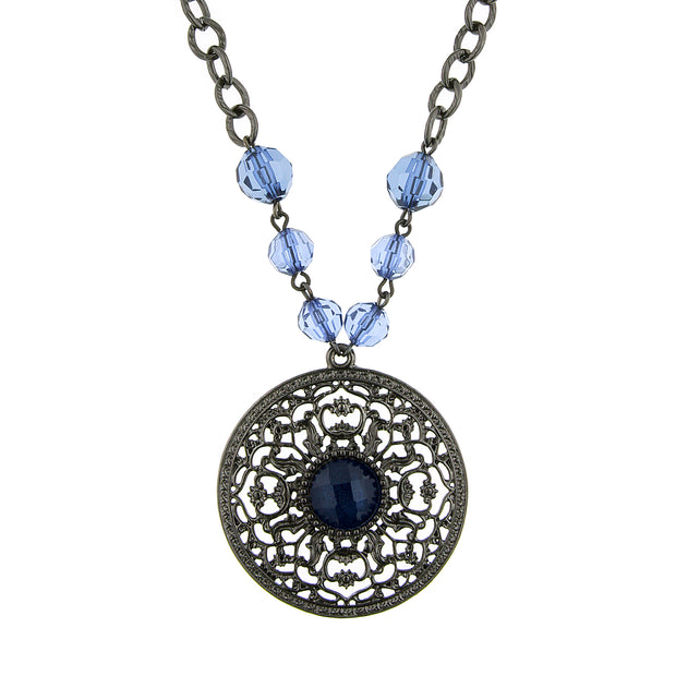 Black-Tone Montana Blue Large Pendant Necklace 16 In Adj