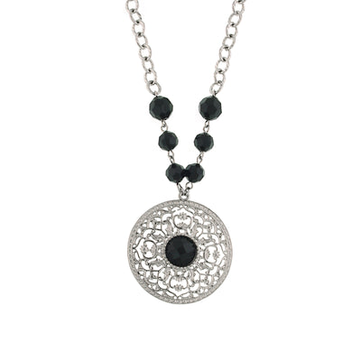 Silver-Tone Jet Large Pendant Necklace 16 In Adj