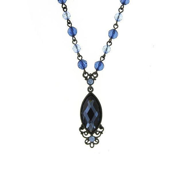 Black-Tone Blue Navette Necklace 16 Adj.