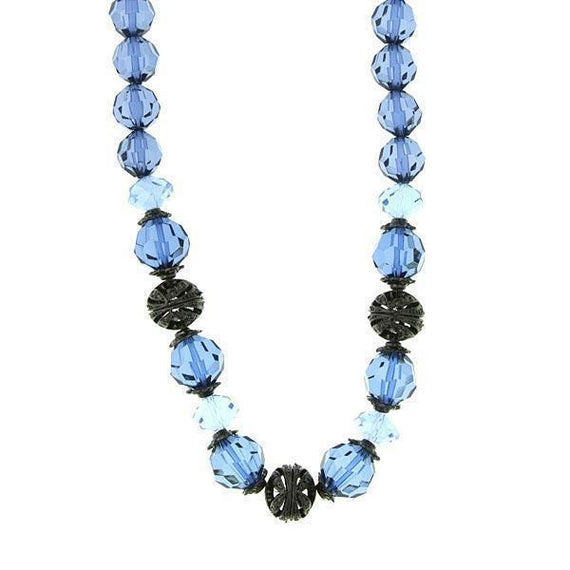 Black-Tone Blue Beaded Necklace 16 Adj.