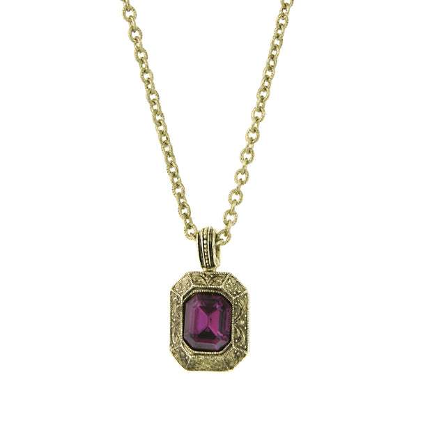 Gold-Tone Purple Square Pendant Necklace 16 In Adj
