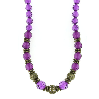 Gold-Tone Purple Beaded Necklace 16 In Adj