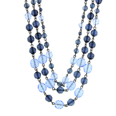 Hematite Blue Tonal 3 Strand Beaded Necklace 16   19 Inch Adjustable