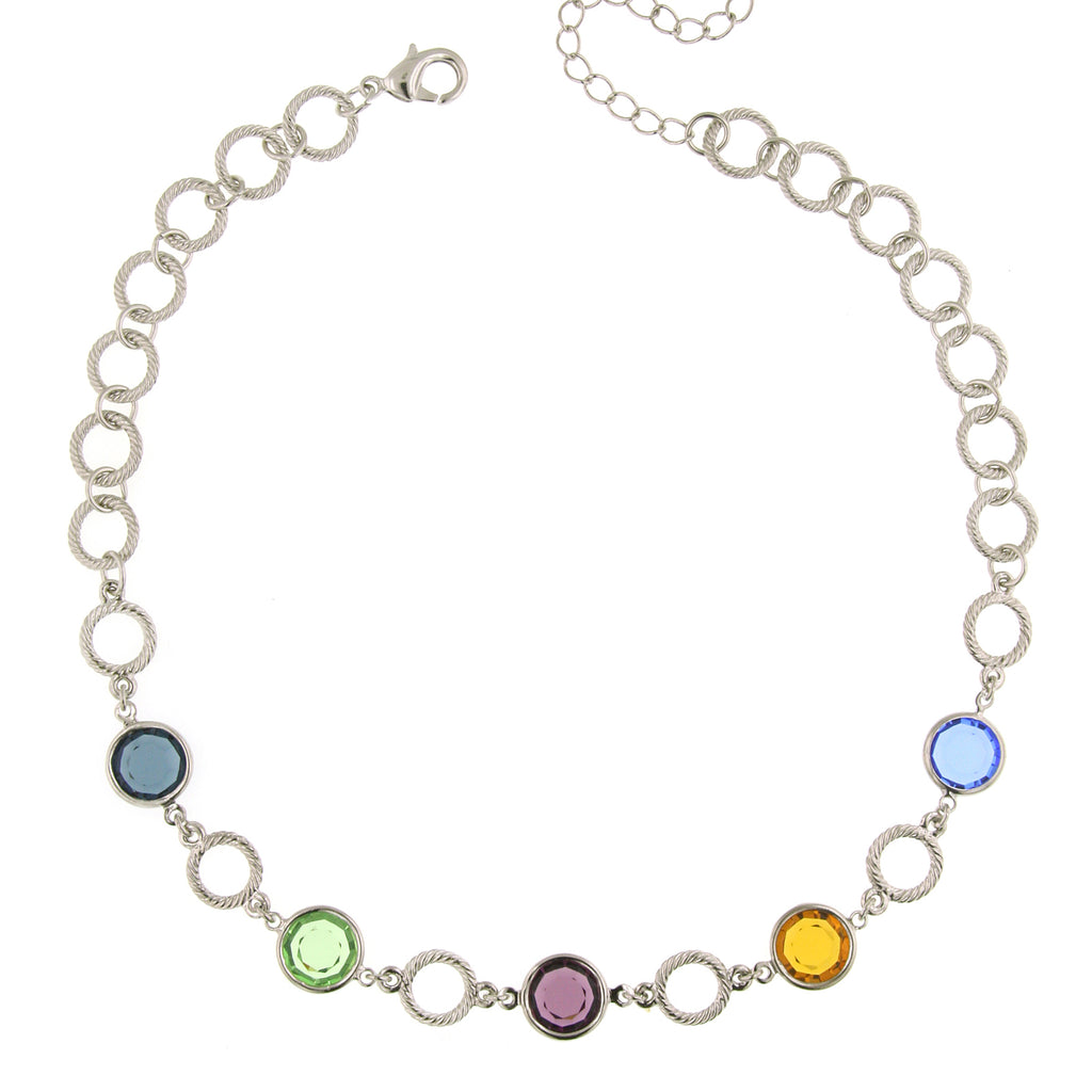 Silver-Tone Genuine Swarovski Chanel Necklace